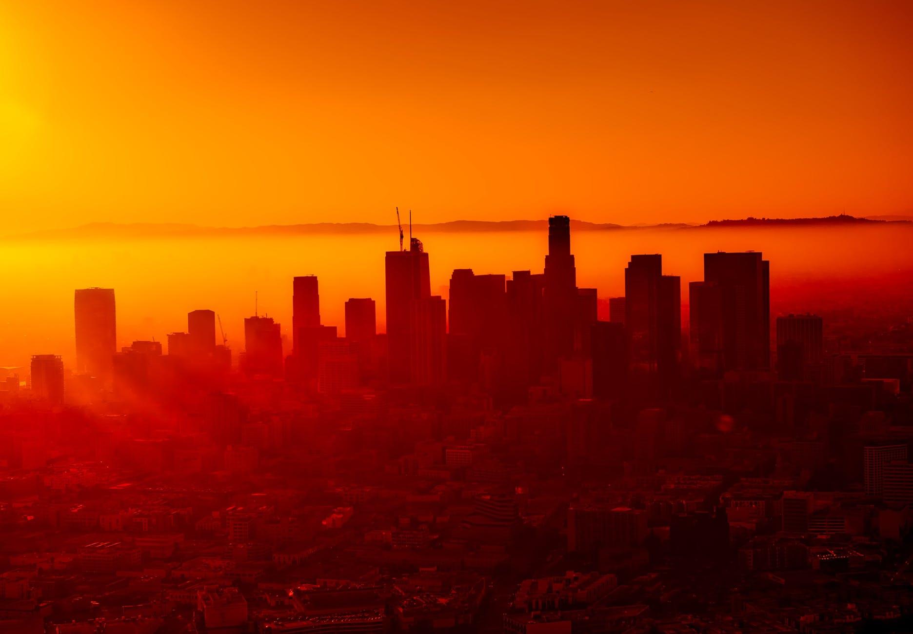 architecture backlit buildings california