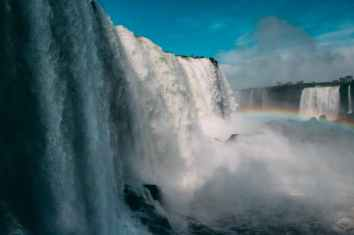 waterfalls with rainbow