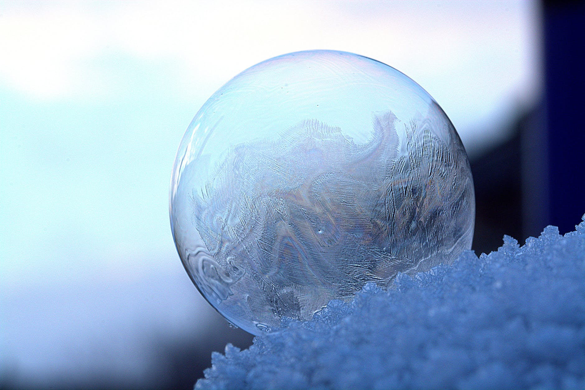 close up of frozen water